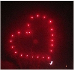 Fireworks can produce many patterns including this popular heart shape